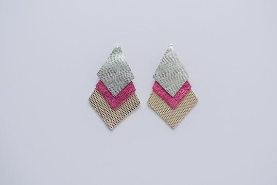 Silver Saffiano, Party Pink & Disco Ball Silver Triple Layer Diamond Earrings