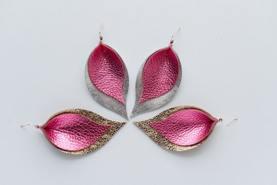 Party Pink & Glitter Gold Double Layer Leaf Earrings