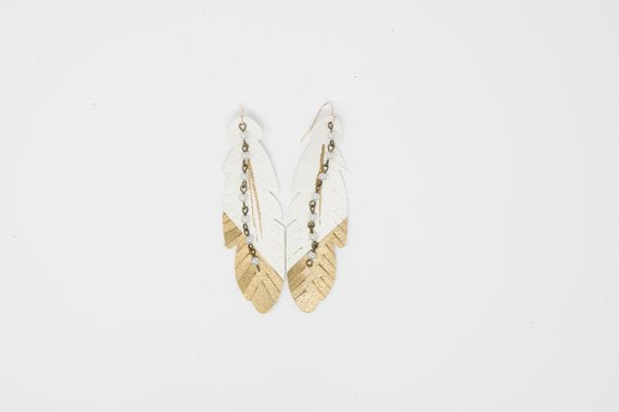 Gold Dipped White Feather with Pearls Embellished Fringed Feathers