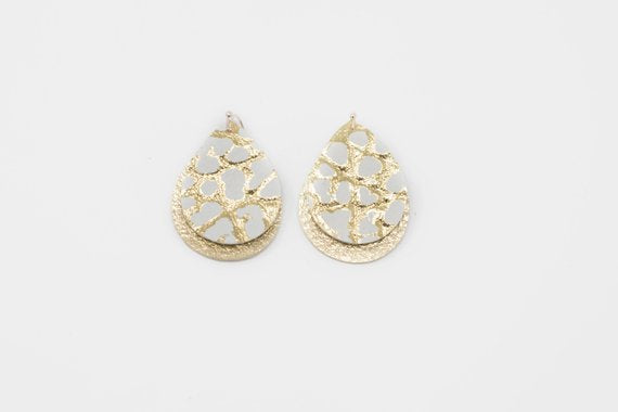 Gold & White Dino Mini Double Layer Teardrops