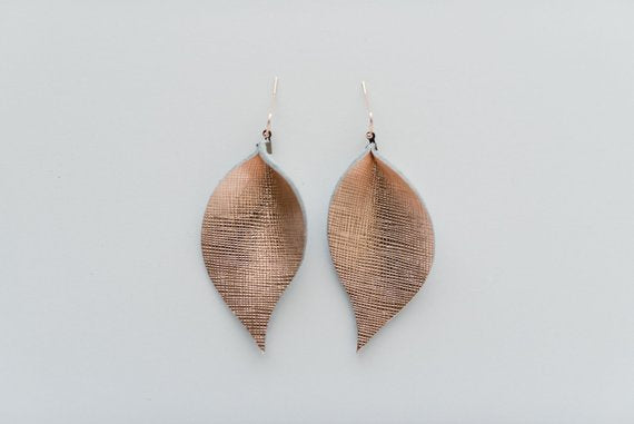 Rose Gold Saffiano Single Layer Leaf Earrings