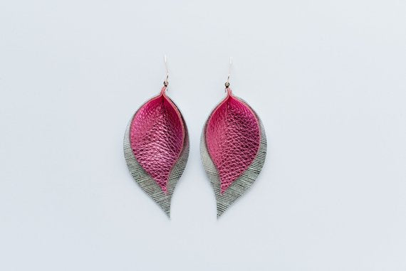 Party Pink & Silver Saffiano Double Layer Leaf Earrings