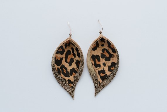 Cheetah Cork & Glitter Gold Double Layer Leaf Earrings
