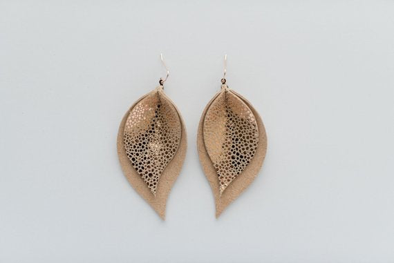 Rose Gold Snakeskin & Nude Snakeskin Double Layer Leaf Earrings
