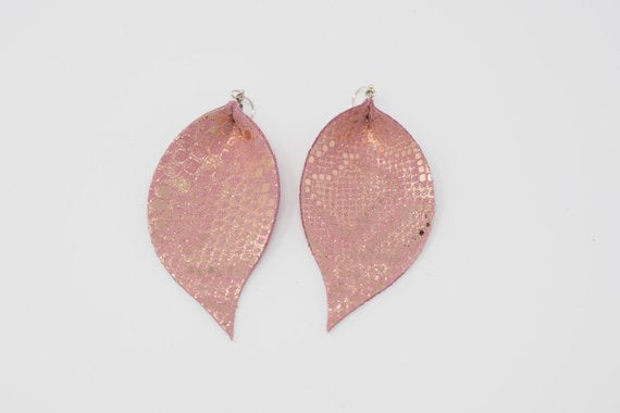 Pink Snakeskin Single Layer Leaf Earrings