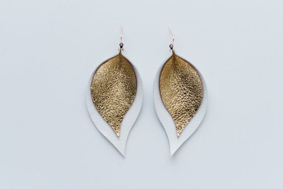Glitter Gold & Bright White Double Layer Leaf Earrings