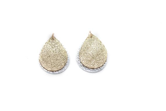 Glitter Gold & Silver Mini Double Layer Teardrops