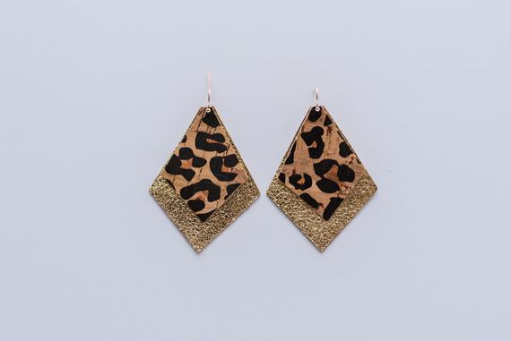 Cheetah Cork & Gold Double Layer Diamonds