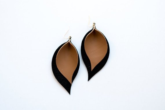 Brown & Black Double Layer Leaf Earrings