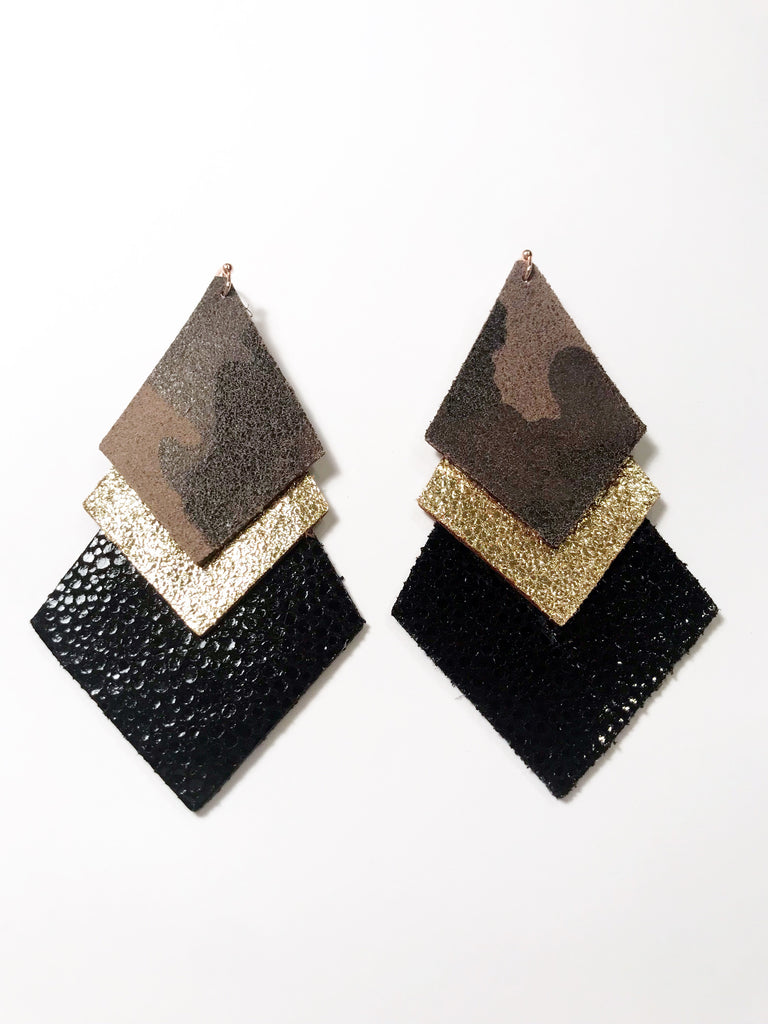 Camo, Glitter Gold & Black Stingray Triple Layer Diamonds