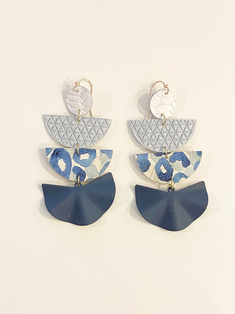 Blue Leopard Four Layer Geo Half Circle Earrings