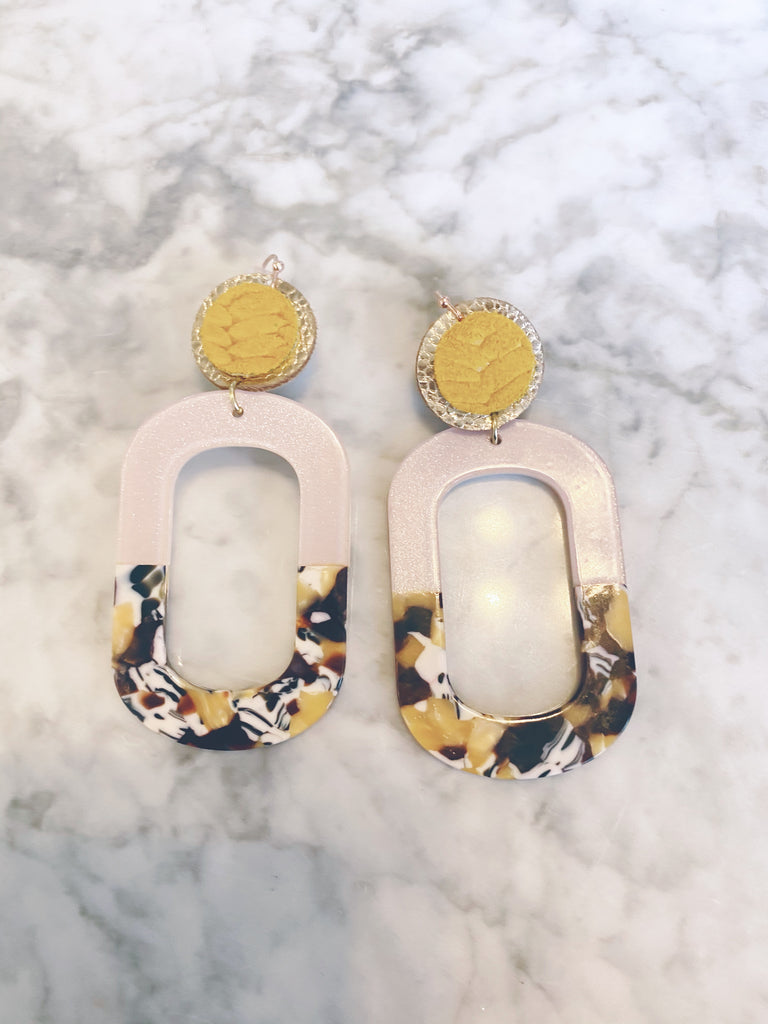 Yellow Tortoise Shell and Shimmer Cream Acrylic Oval Earrings