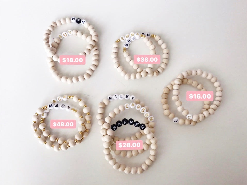Wood Bead Personalized Bracelets