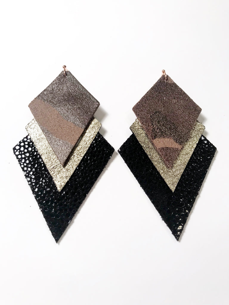 Camo, Gunmetal & Black Stingray Triple Layer Aztec Earrings
