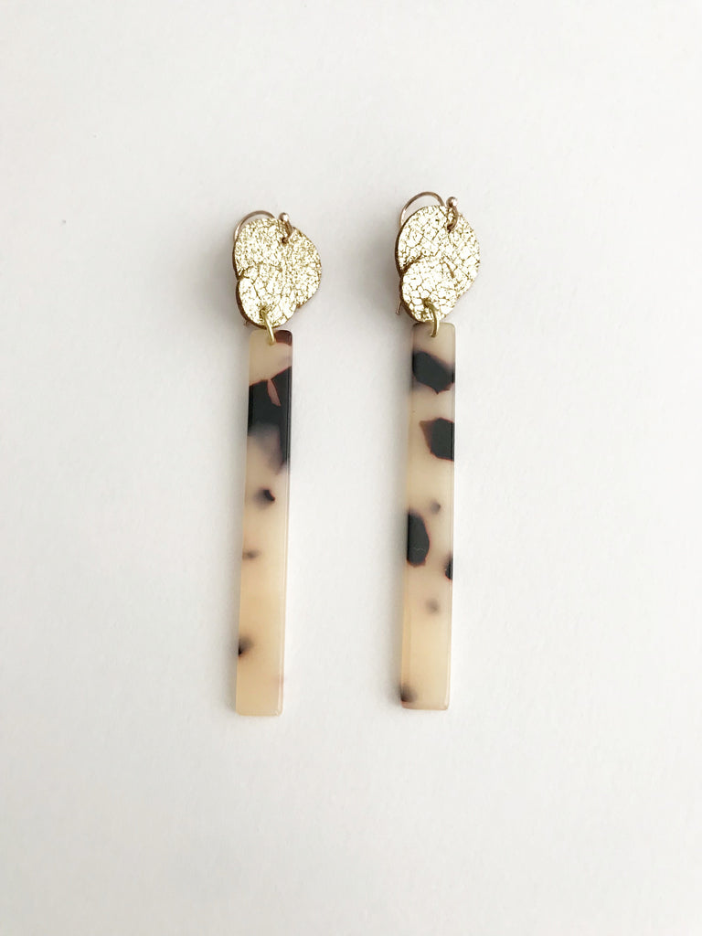 Tortoise Acrylic Bar Earrings