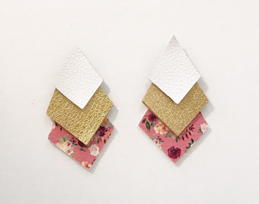 Pink Floral and Glitter Gold Triple Layer Aztecs and Diamonds