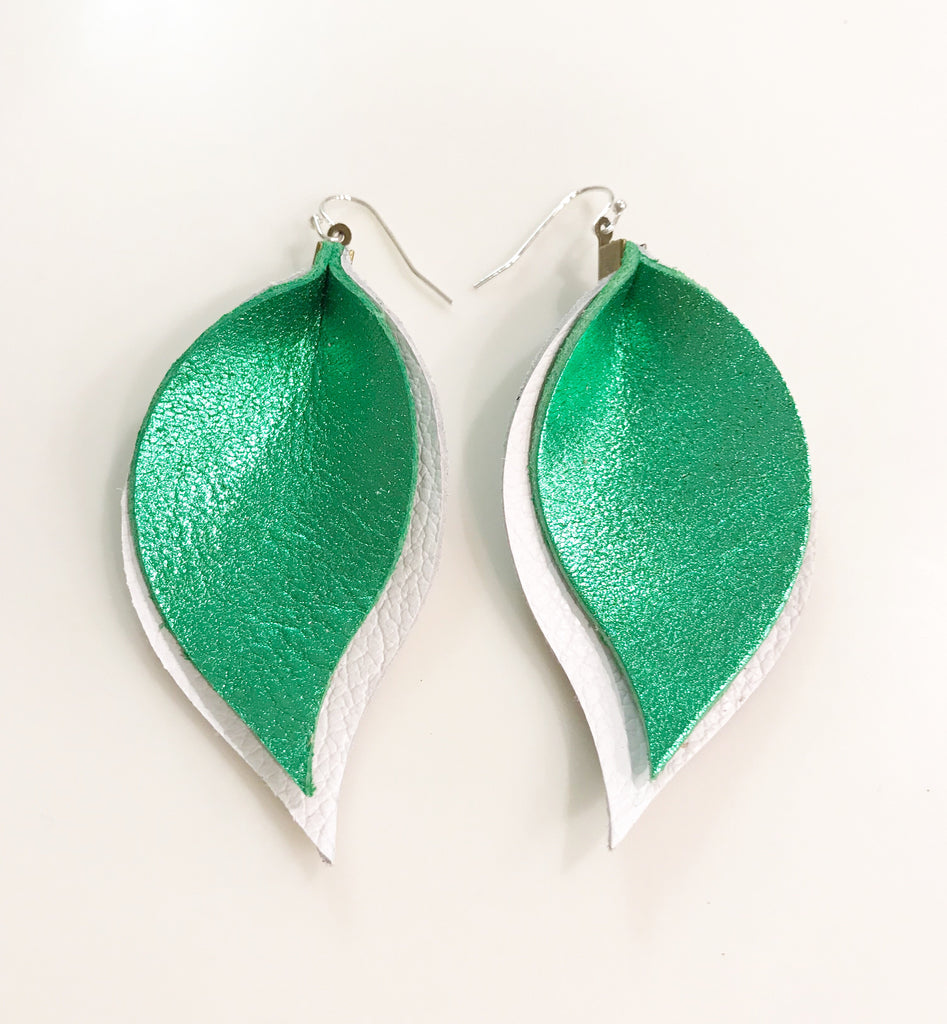 Metallic Green and Bright White Double Layer Leaves