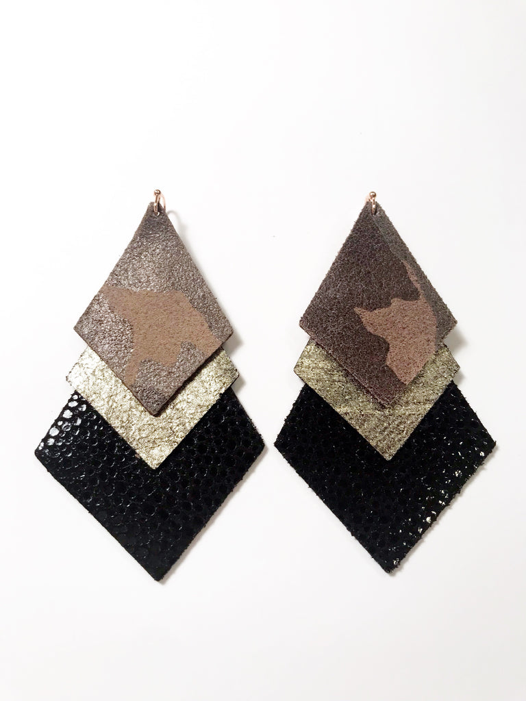 Camo, Gunmetal & Black Stingray Triple Layer Diamond Earrings
