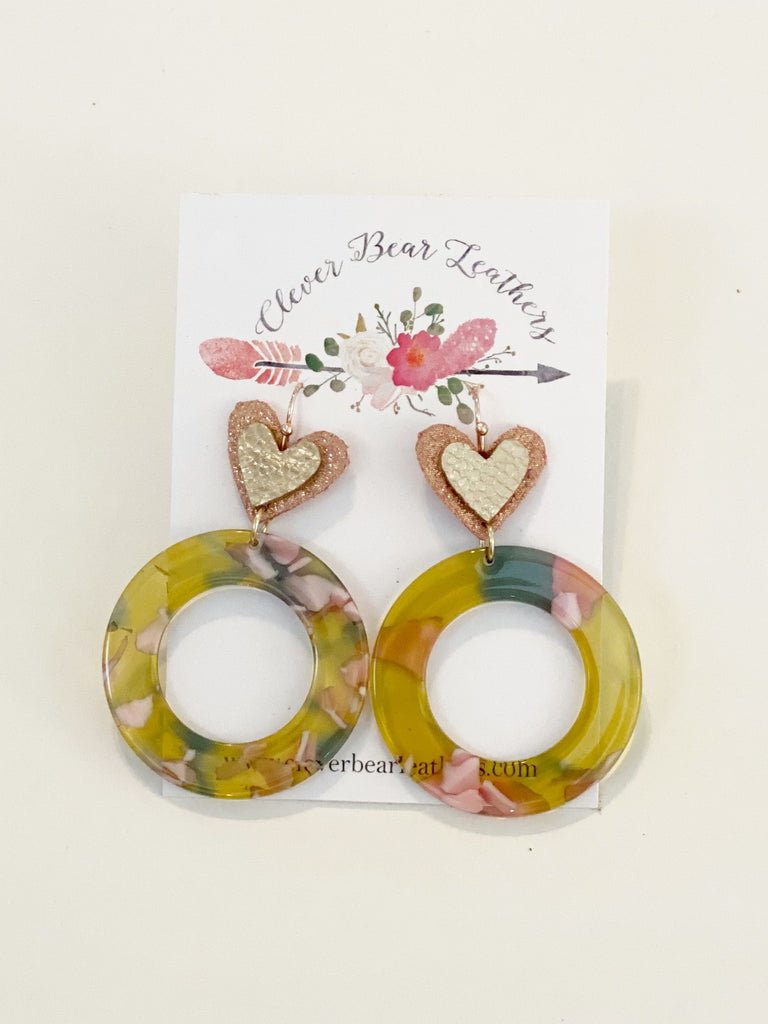 Pink & Chartreuse Acrylic Circles with Heart Topper