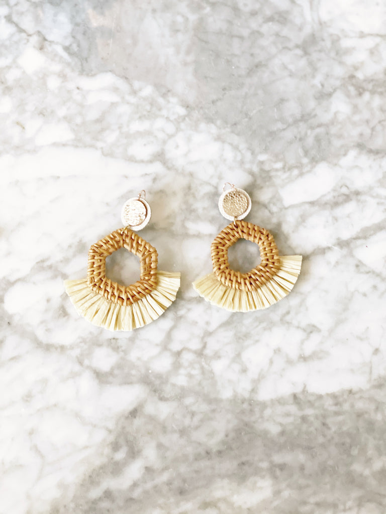Natural Rattan Circle Raffia Earrings