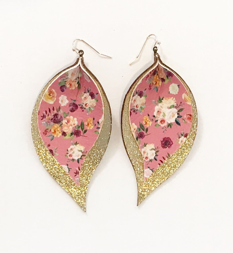 Pink Floral and Glitter Gold Double Layer Leaves