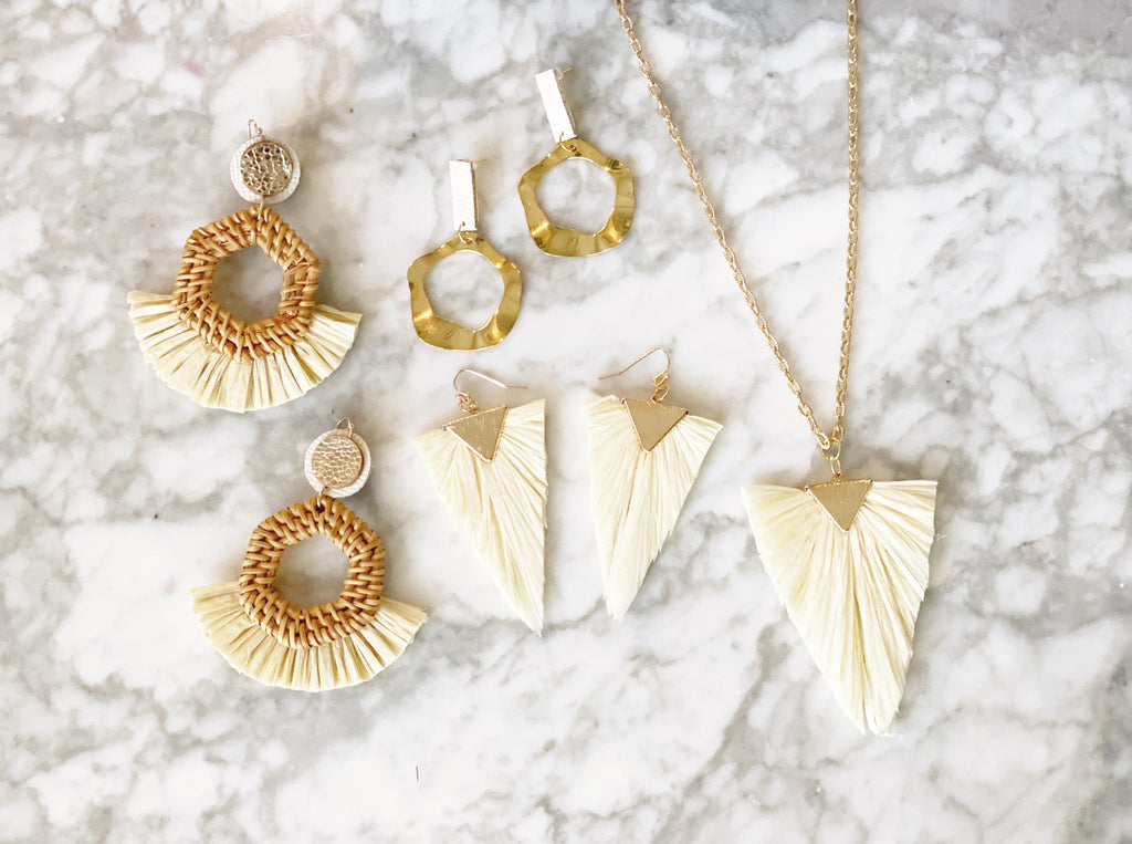 Gold and Ivory Raffia Triangle Earrings