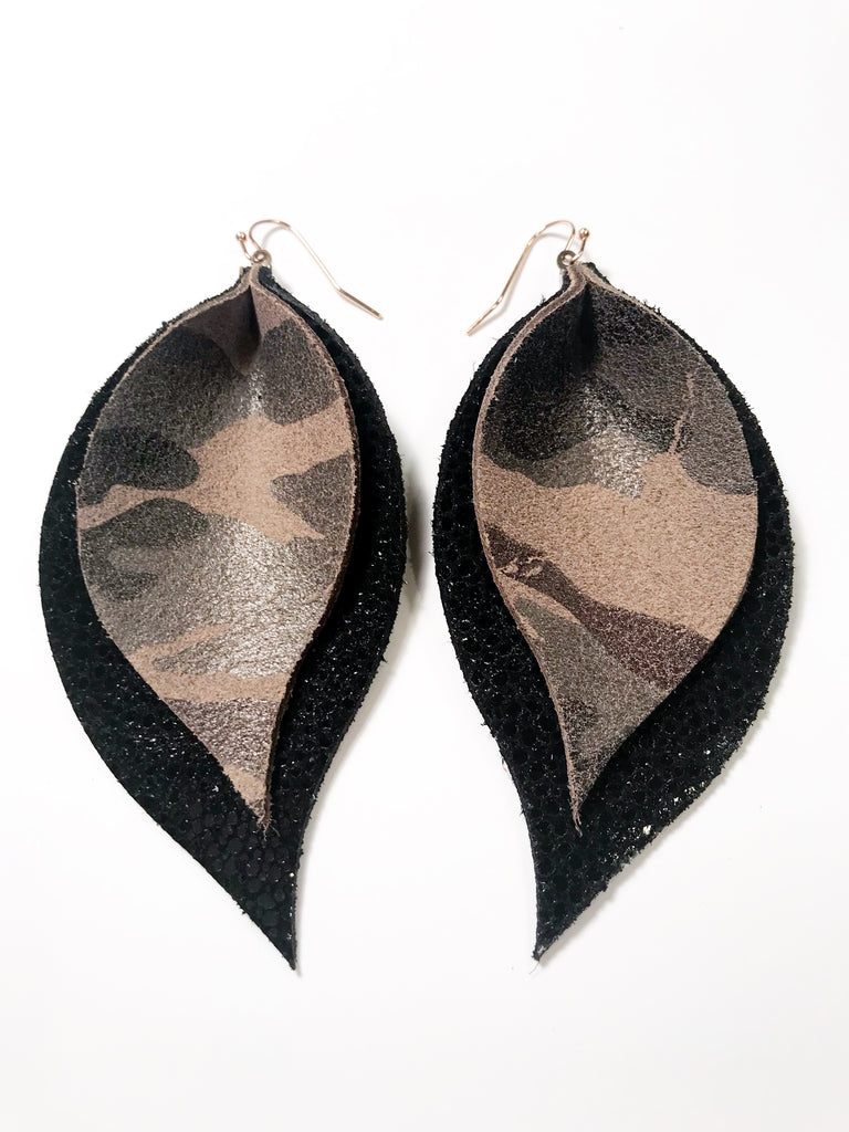 Camo and Black Stingray Double Layer Leaf Earrings