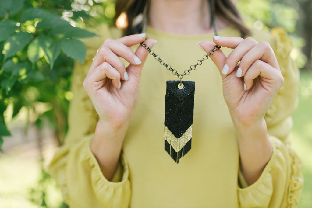 Triple Fringe Necklace in Black and Gold