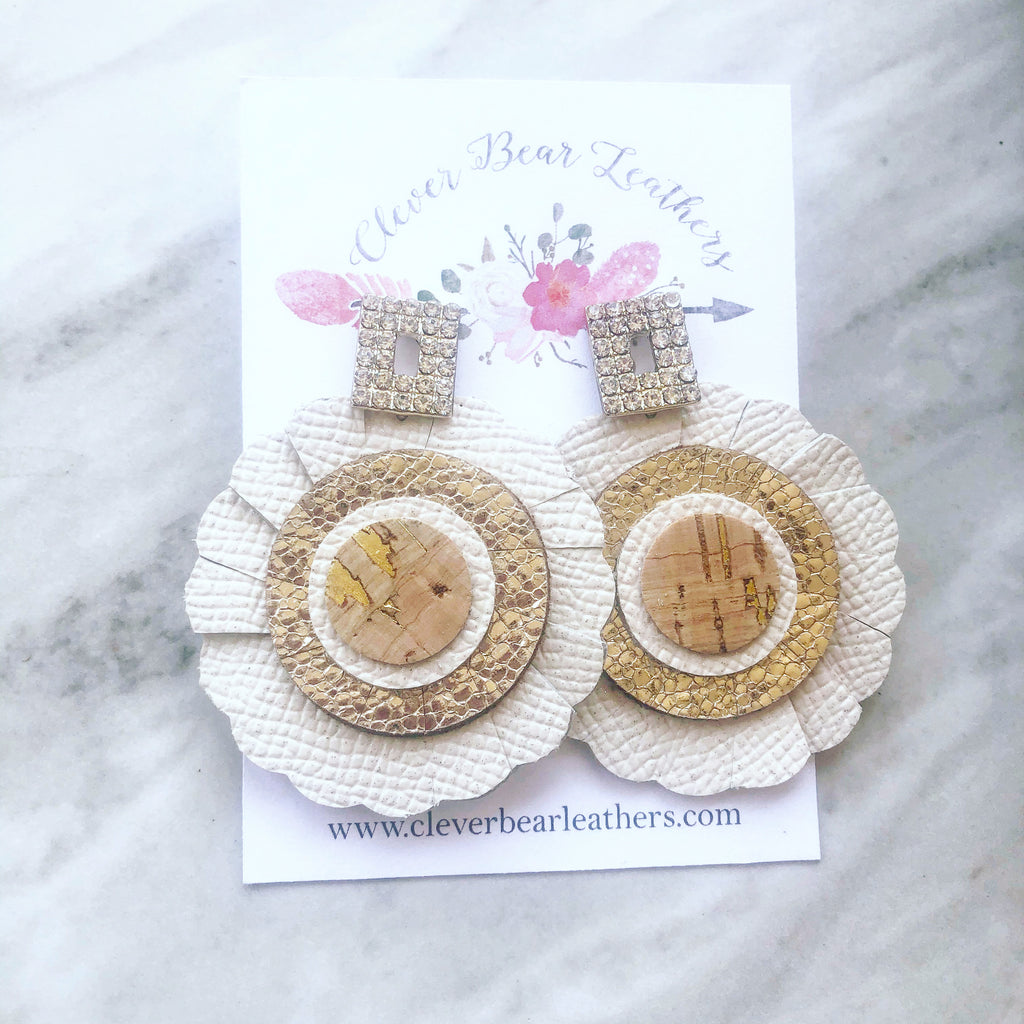 Glam Neutral Scalloped Circle Earrings