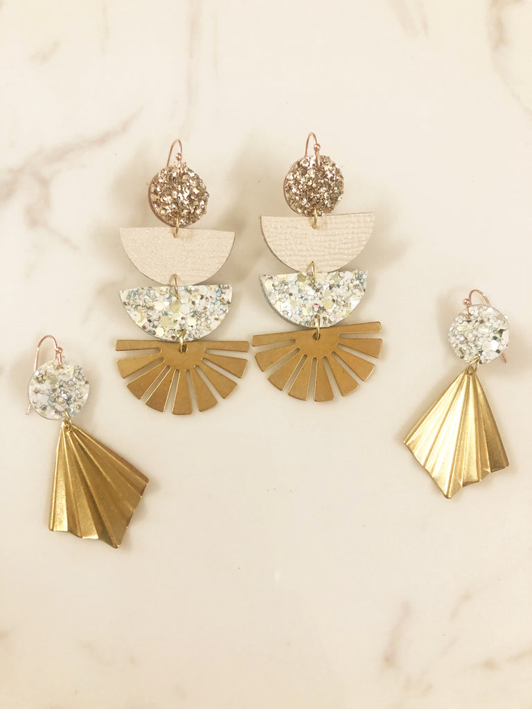 Three Layer Geo White & Gold Dazzle Earrings