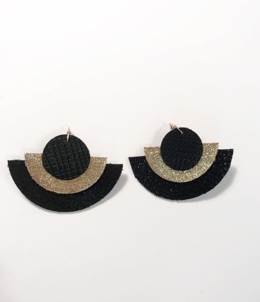 Black Scratch, Gold & Black Stingray Triple Layer Circle Earrings