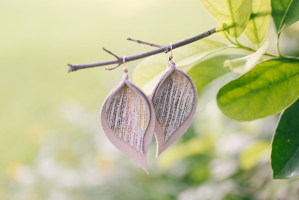 Rose Gold Rain and Nude Double Layer Leaf Earrings