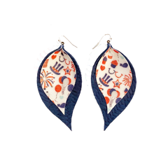 Patriotic Fireworks Double Layer Leaf Earrings