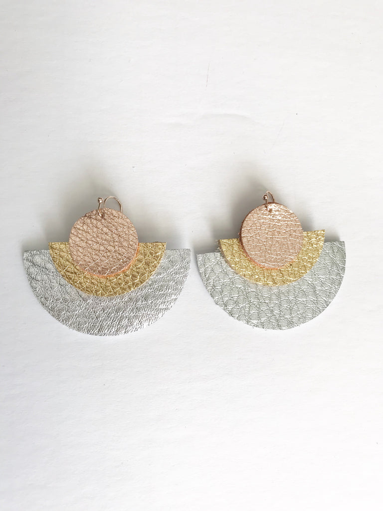 Rose Gold, Gold & Silver Triple Layer Circle Earrings