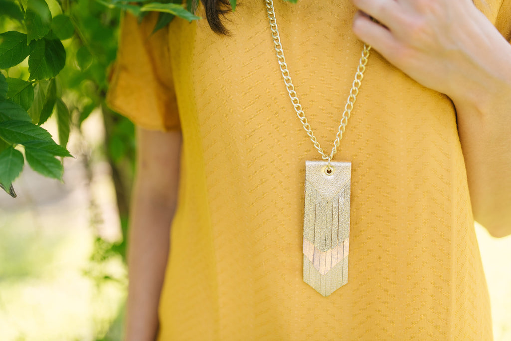 Triple Fringe Necklace in Gold and Blush Pink
