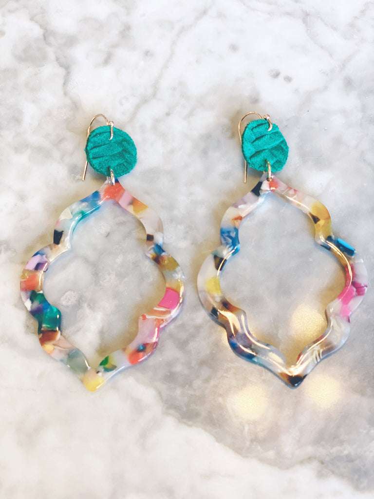 Colorful Acrylic Arabesque Earrings
