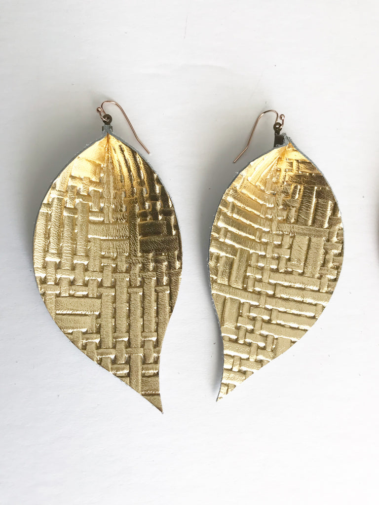 Gold Basketweave Single Layer Leaf Earrings