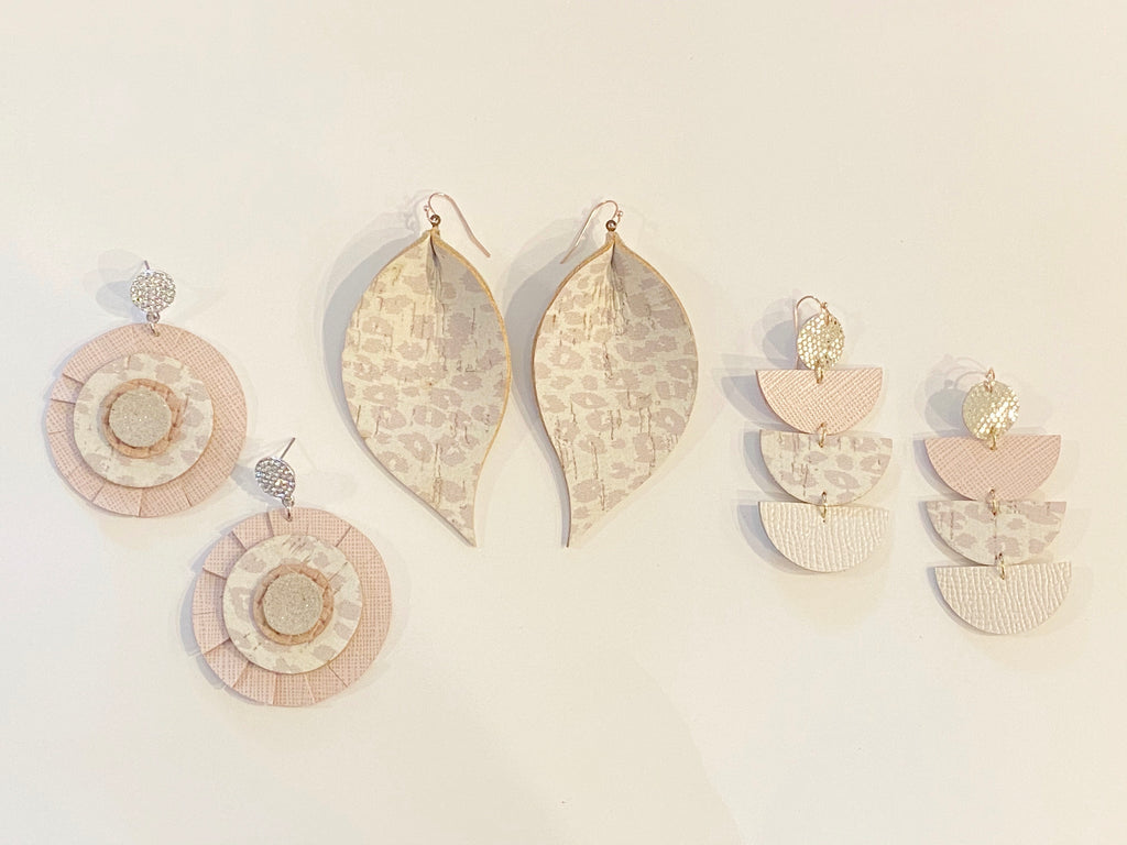 Beige Leopard Four Layer Geo Half Circle Earrings
