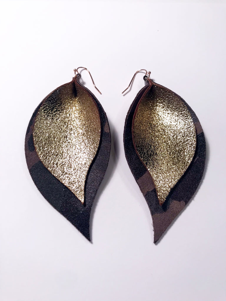 Glitter Gold and Camo Double Layer Leaf Earrings