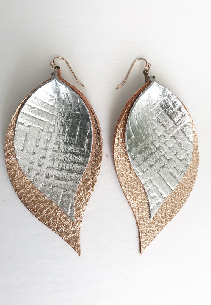 Silver Basketweave and Rose Gold Double Layer Leaf Earrings
