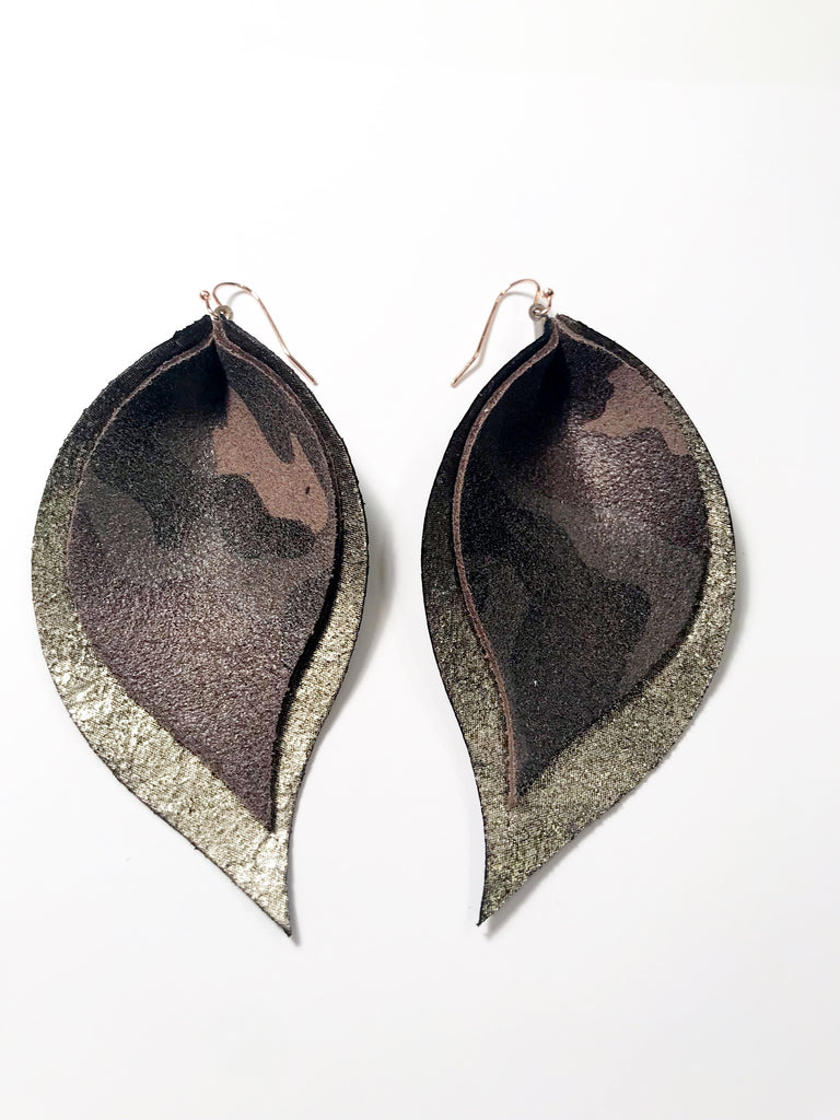 Camo and Gunmetal Double Layer Leaf Earrings