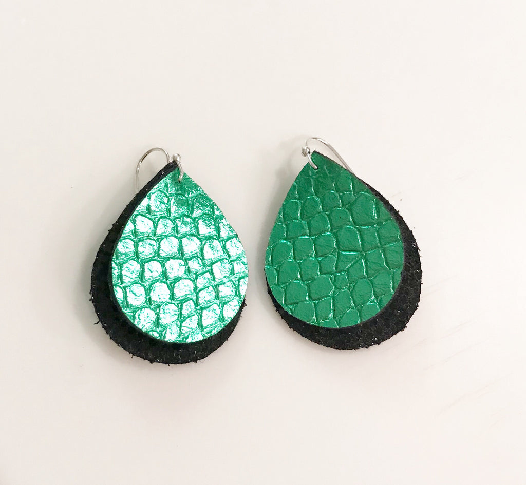 Metallic Green Scales and Black Stingray Mini Double Layer Teardrops