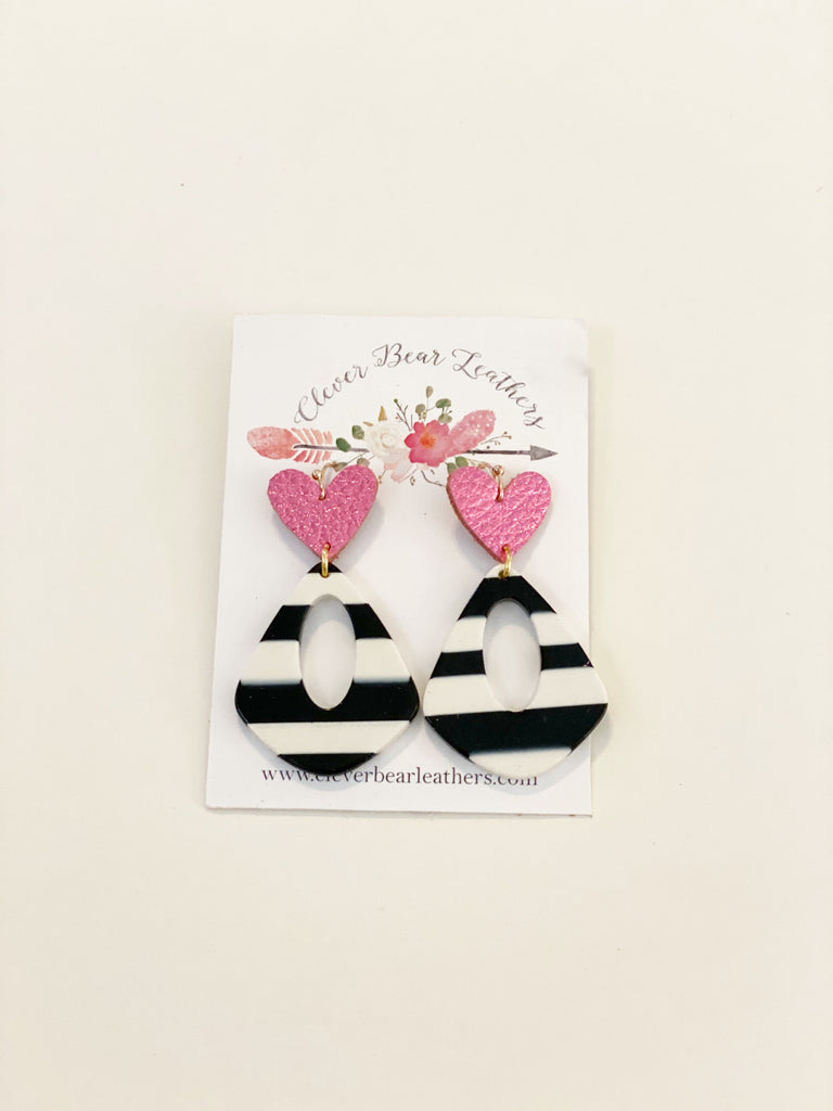 Black & White Stripe Acrylic Diamonds with Heart Topper