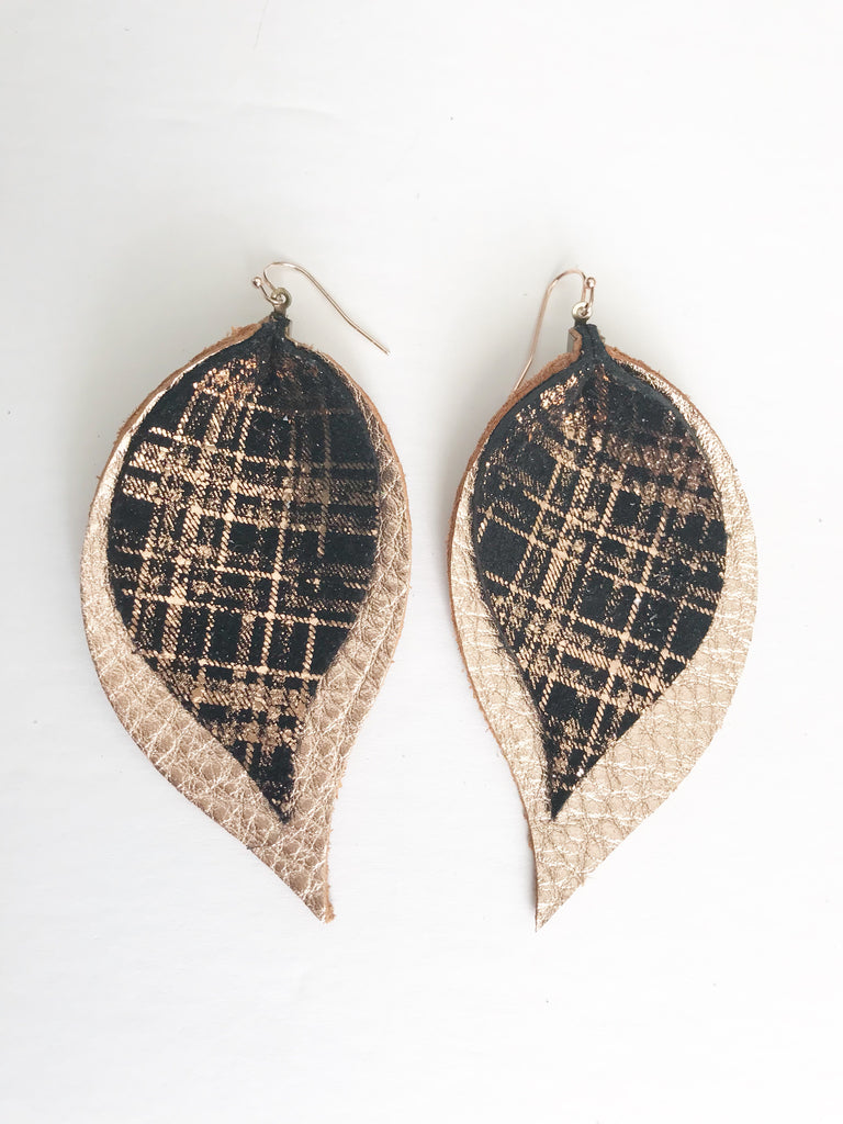 Rose Gold Scratch and Rose Gold Double Layer Leaf Earrings