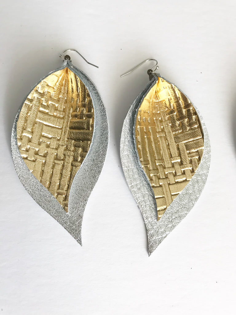Gold Basketweave and Silver Double Layer Leaf Earrings