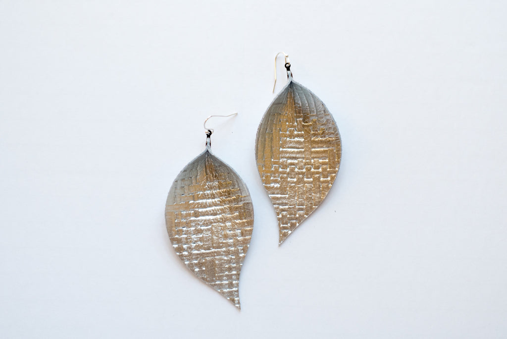 Champagne Basketweave Single Layer Leaf Earrings