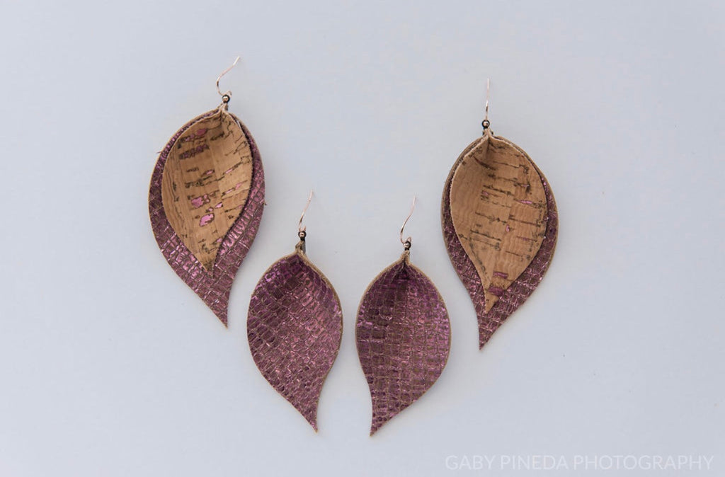 Natural Lilac Flecked Cork & Metallic Lilac Double Layer Leaf Earrings