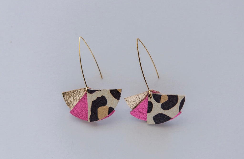 Tri Flare Ear Wires in Leopard & Party Pink