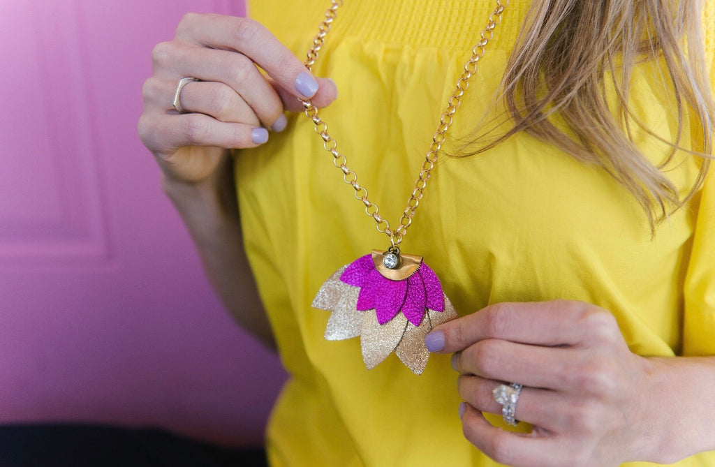Lotus Flower Necklace in Hot Pink and Gold