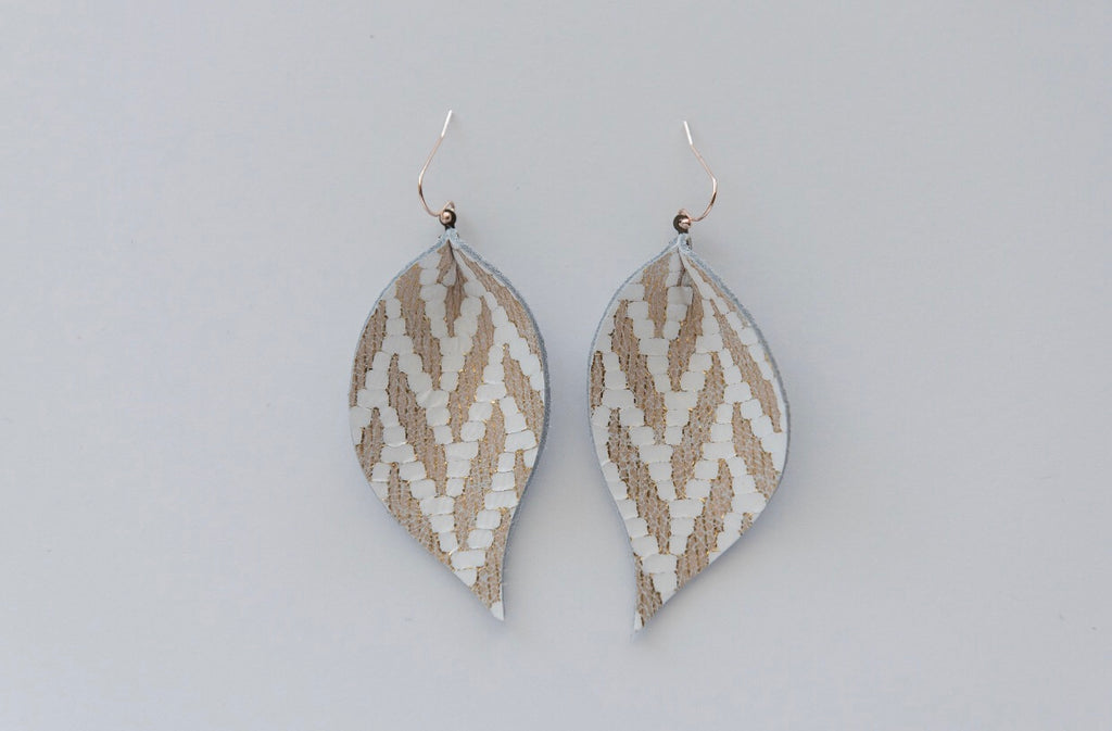 Gold Chevron Single Layer Leaf Earrings